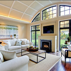 Transitional Living Room by Coach Barn