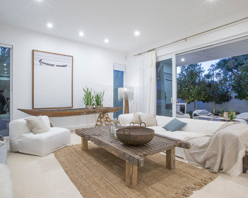 Photo Of A Mid Sized Beach Style Open Concept Living Room In Perth With  White Part 53