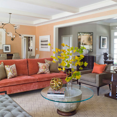 Example of a large trendy enclosed beige floor living room design in Dallas with orange walls