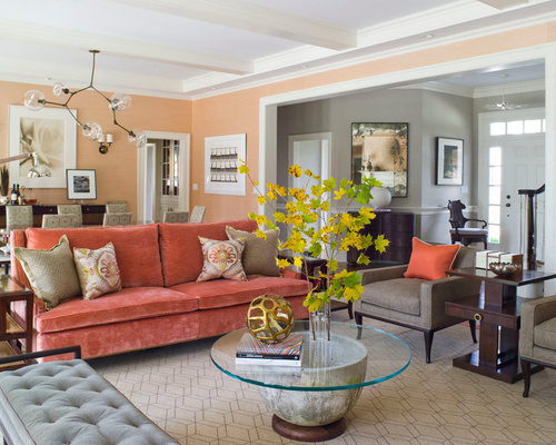 orange wall living room. Example of a trendy living room design in Dallas with orange walls Peach Walls  Houzz