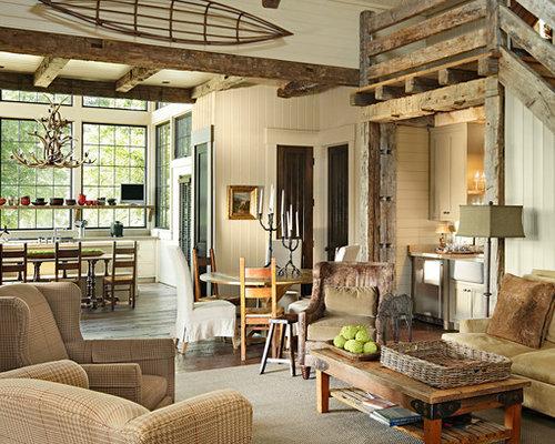 Rustic Living Room With A Home Bar Ideas Design Photos
