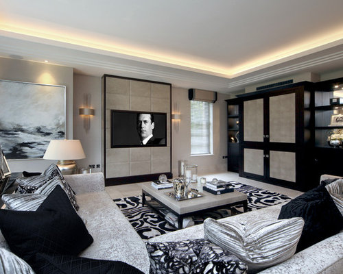 inspiration for a large classic enclosed living room in kent with beige walls marble flooring - Marble Flooring Living Room Ideas