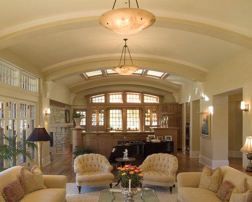 Rustic Open Concept Living Room Idea In Minneapolis With Beige Walls