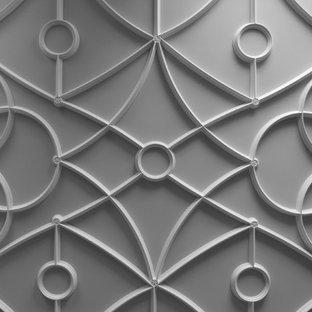 Foto de biblioteca en casa cerrada, clásica, extra grande, con paredes marrones, suelo de madera en tonos medios, chimenea tradicional y marco de chimenea de piedra