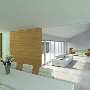 サンフランシスコのモダンスタイルのおしゃれなLDK (フォーマル、トラバーチンの床、横長型暖炉、白い壁、漆喰の暖炉まわり、据え置き型テレビ、白い床) の写真