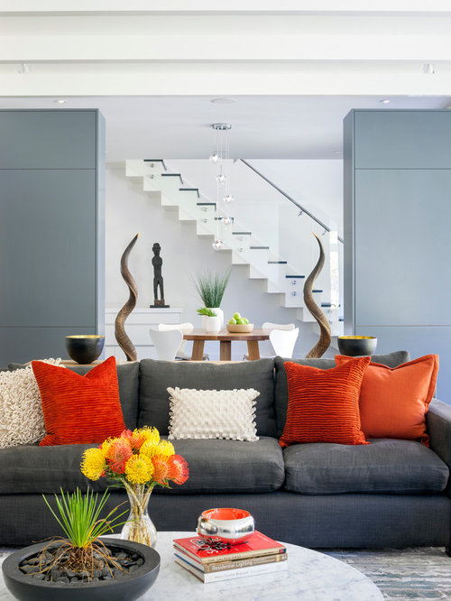 Blue And Orange Living Room Ideas: Grey And Orange Home Design Ideas, Pictures, Remodel And Decor