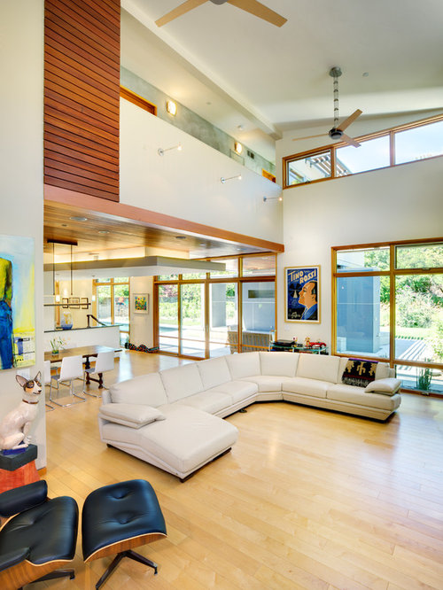High ceiling modern living room houzz for Living room ideas high ceilings