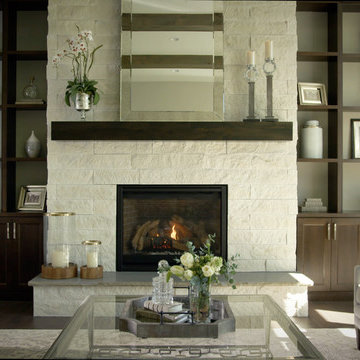 Cozy and Elegant Living Room With White Stone Fireplace