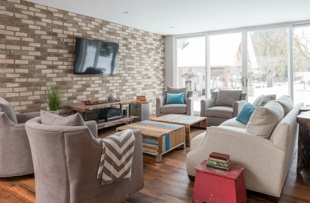 Transitional Living Room by Soda Pop Design Inc.