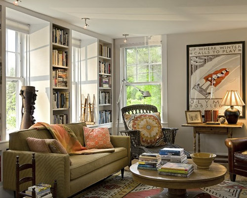 Elegant enclosed living room library photo in Burlington with beige walls Formal Living Room Furniture  Houzz