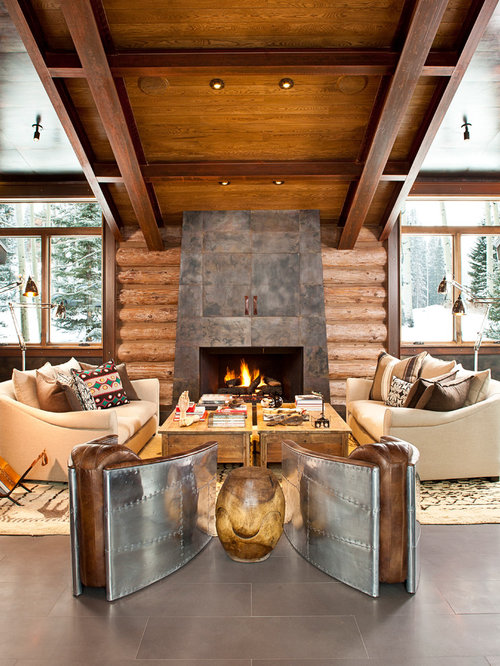 Superb Example Of A Trendy Living Room Design In Denver With A Concealed Tv