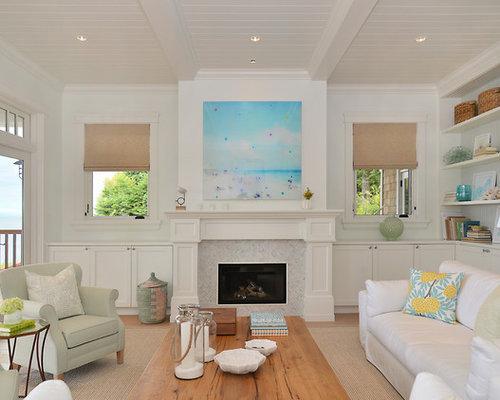 Maritime wohnzimmer mit gaskamin ideen design bilder - Maritimes wohnzimmer ...