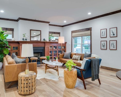 Houzz craftsman living room design ideas remodel pictures for Craftsman living room ideas