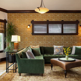Example of a large arts and crafts enclosed and formal medium tone wood floor living room design in Seattle with multicolored walls