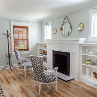 Living room - mid-sized transitional living room idea in Philadelphia with green walls and a standard fireplace