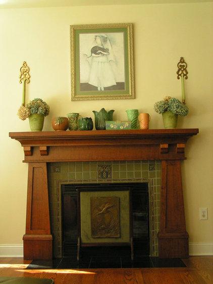 Craftsman Living Room by Hazelmere Mantel