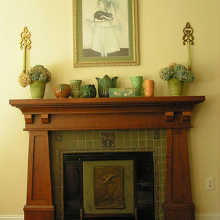 Arts And Crafts Living Room Photo In Vancouver Save Craftsman By Hazelmere Mantel