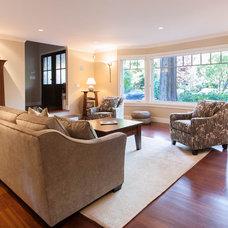 Craftsman Living Room by Kenorah Design + Build Ltd.
