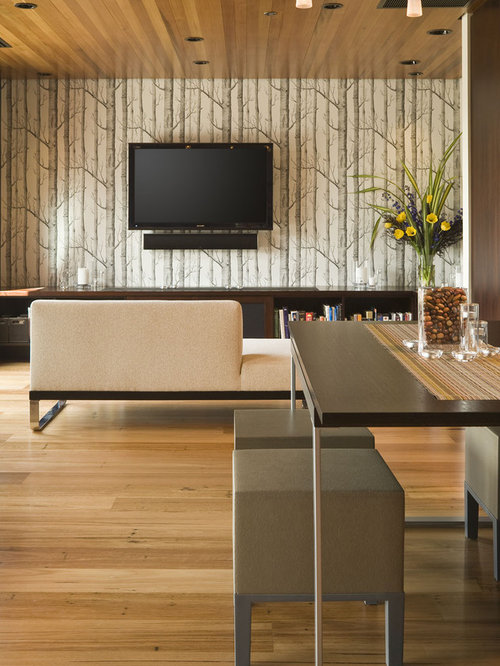 Inspiration for a contemporary open concept living room remodel in Portland  with a wall-mounted