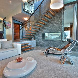 Esempio di un soggiorno moderno con pavimento in cemento, pareti grigie e pavimento grigio
