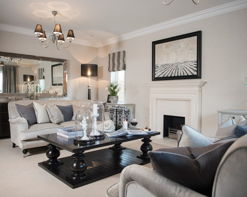 Design Ideas For A Country Formal Living Room In London With Beige Walls,  Carpet And
