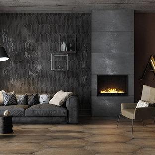 Esempio di un soggiorno contemporaneo di medie dimensioni con sala formale, pareti grigie e cornice del camino in cemento