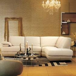 Cream Leather Sectional Sofa Modern Line - Features:
