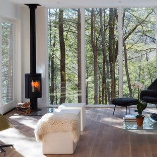 Diseño de salón contemporáneo, de tamaño medio, con paredes blancas, suelo de madera oscura y estufa de leña