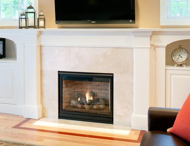 Modern Living Room Crema Marfil Marble Fireplace