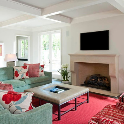 Living room - large traditional living room idea in Dallas with white walls and a wall-mounted tv