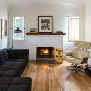 Inspiration for a medium sized contemporary formal enclosed living room in Los Angeles with a standard fireplace, white walls, light hardwood flooring and a plastered fireplace surround.