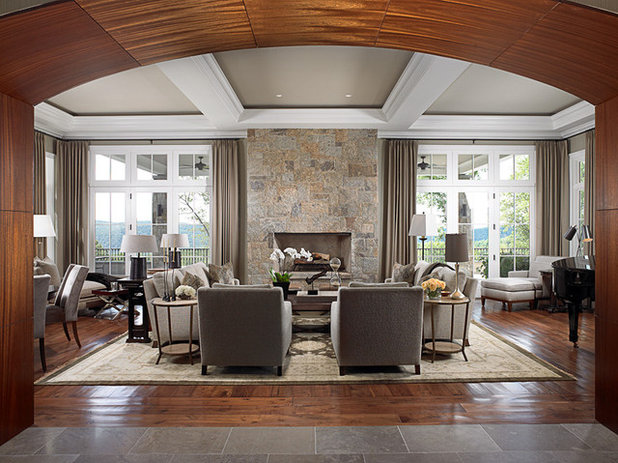 Transitional Living Room by Crisp Architects