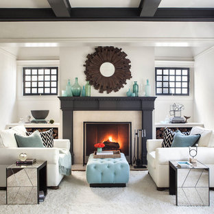 Transitional formal and enclosed living room photo in San Francisco with white walls, a standard fireplace and no tv
