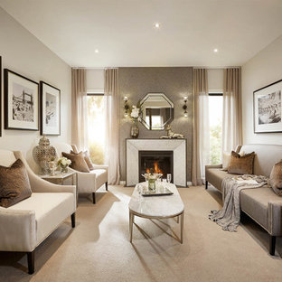 Inspiration for a mid-sized transitional living room in Melbourne with carpet, a standard fireplace and a stone fireplace surround.