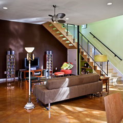 eclectic living room by Nick Mehl Architecture