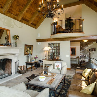 Living room - large traditional enclosed living room idea in Burlington with a standard fireplace, beige walls and no tv