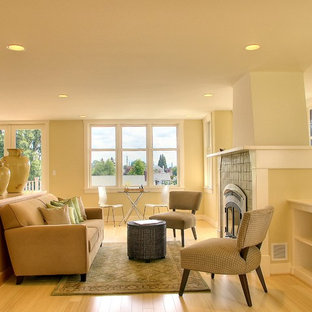 Inspiration For A Timeless Living Room Remodel In Seattle With Tile Fireplace