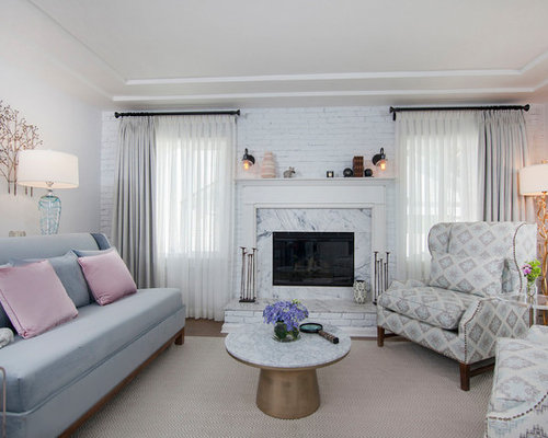 Inspiration For A Transitional Medium Tone Wood Floor And Brown Floor Living  Room Remodel In Los