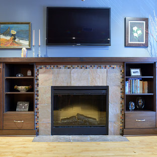Crystal Cabinets- Contemporary Fireplace Built In