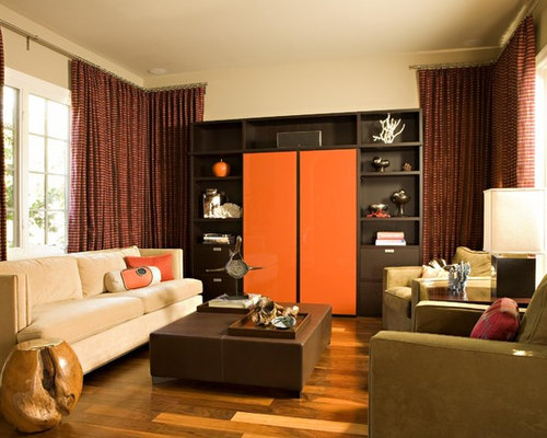 1 700 chocolate brown living room design ideas remodel for Brown and orange living room ideas