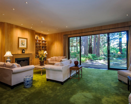 Green Carpet Inspiration For A Huge Timeless Living Room Remodel In San Francisco With Standard Fireplace