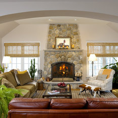 confetto ffertig contemporary living room. The Field Stone Fireplace Is Focal Point Of This Inviting Connecticut Family Room. Ample Seating, Warm Colors, And A Fresh Mix Patterns Textures Confetto Ffertig Contemporary Living Room