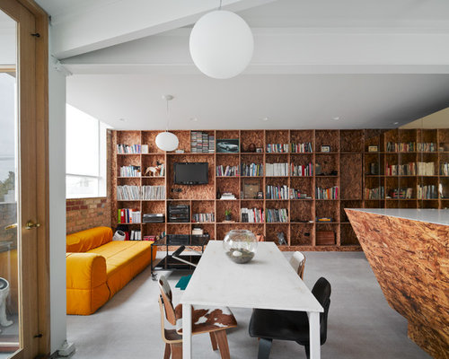 eclectic living room ideas. design ideas for an eclectic open concept living room in melbourne with a library, white e