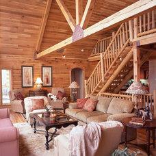Traditional Living Room by Gastineau Log Homes, Inc.