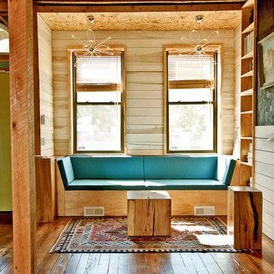 Small minimalist medium tone wood floor living room photo in Philadelphia