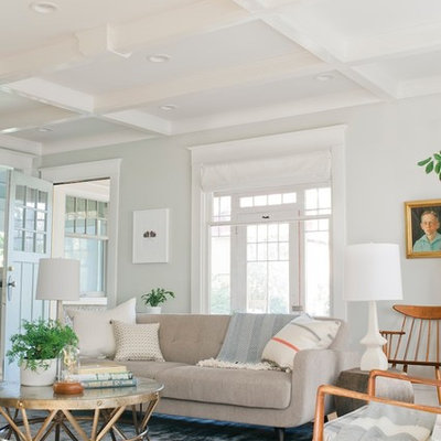Transitional living room photo in Minneapolis with white walls