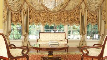 Custom and Luxury Drapery for Large Bay Window