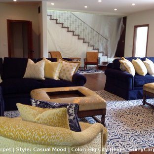 Inspiration for a transitional carpeted living room remodel in Los Angeles