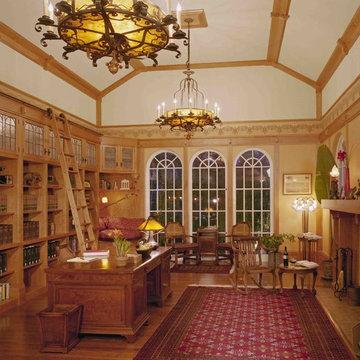 Custom cherry library, wallpaper, leaded glass cabinet doors, rolling ladder