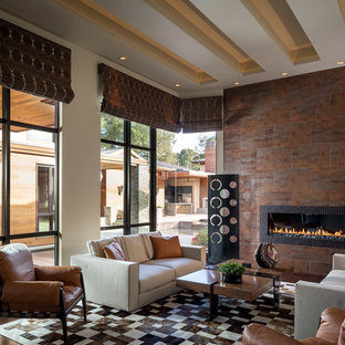 Living room - large contemporary formal and open concept bamboo floor living room idea in San Francisco with beige walls, a ribbon fireplace, a tile fireplace and no tv